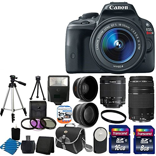 Canon Eos Rebel Sl1 18.0 Mp Cmos Digital Slr With Ef-S 18-55Mm Is Stm Lens With Ef 75-300Mm F/4-5.6 Iii Telephoto Zoom Lens + 58Mm 2X Professional Lens +High Definition 58Mm Wide Angle Lens + Auto Flash + Tripod +Uv Filter Kit With 24Gb Complete Deluxe Ac