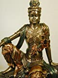 Seated Guanyin Bodhisattva (Water and Moon Kwan-Yin) Real Bronze Powder Cast Statue Sculpture 16.75""