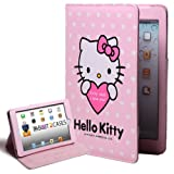 "Hello Kitty Themed Apple iPad Mini Folio with ""Kitty Says I Love You"" in Pink (leather inner holding frame, 4x angle stand)"