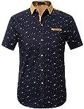 SSLR Men's Printing Pattern Casual Short Sleeve Shirt (X-Large, Blue)