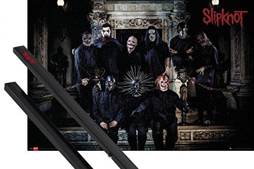Poster + Sospensione : Slipknot Poster Stampa (91x61 cm) .5: The Gray Chapter, Band E Coppia Di Barre Porta Poster Nere 1art1®