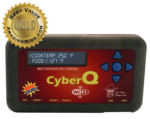 CyberQ Wifi BBQ Temperature Controller, 3 Digital Meat Thermometers, Big Green Egg or Ceramic Adaptor and Pit Viper Fan (Big Green Egg Thermometer Digital compare prices)