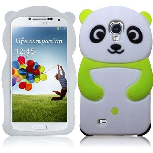 Hr Wireless Panda Silicone Skin Cover For Samsung Galaxy S4 - Retail Packaging - Neon Green