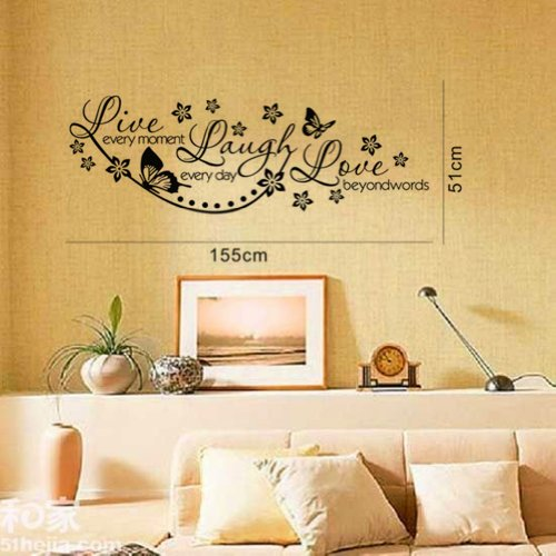Live Every Moment, Laugh Every Day, Love Beyond Words - Wall Stickers Decals Quotes with Butterfly Flower DIY Olivia Vinyl Removable Lettering Phrase Wall Mural Decor Silhouette Graphic Art for Teen G