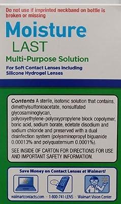 Equate Moisture Last Multi-Purpose Solution for Soft Contact Lenses, 12 Fl Oz, Compare to Opti-Free Pure Moist