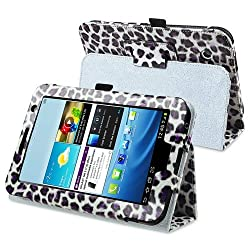 eForCity Leather Case with Stand Compatible with Samsung© Galaxy Tab 2 7.0 P3100/ P3110/ P3113, White/ Purple Leopard