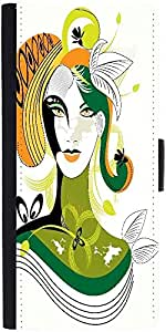 Snoogg Colorful Abstract Woman Wih Green Leafdesigner Protective Flip Case Co...