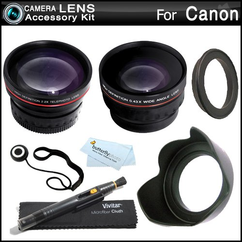 Wide Angle Telephoto Lens Kit For Canon Vixia Hf M52, Hf M50, Hf M500, Hf M41, Hf M40, Hf M400 Hd Camcorder Includes Hd .43X Wide Angle Lens + 2.2X Telephoto Lens + Lens Hood + Lens Pen Cleaning Kit + Lens Cap Keeper + Microfiber Cleaning Cloth