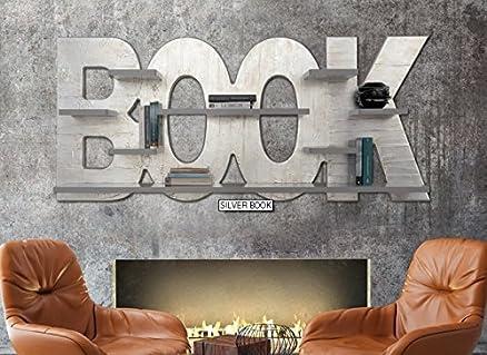 Silver Book libreria cm. 185x80x25 Struttura sagomata e decorata a mano con materico in rilievo e foglia argento, otto mensole laccate tortora, finitura lucida.