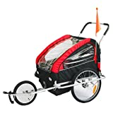 KMS Child Kids Bike Trailer Stroller Jogger with Suspension for 1 to 2 Children Seater Red Blackby KMS