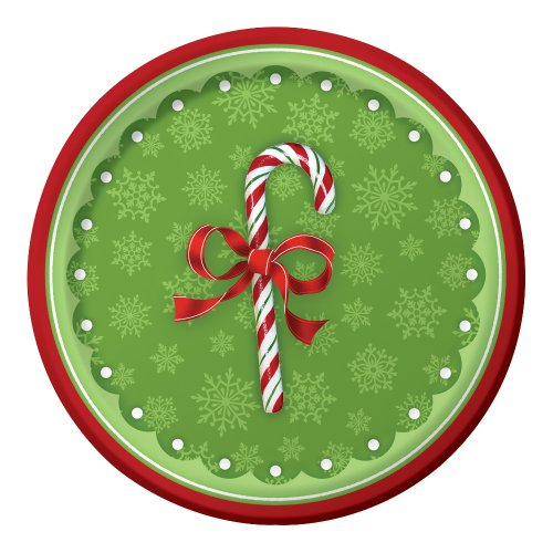 Creative Converting 416910B 18 Count Candy Cane Bliss Paper Lunch Plates - 1