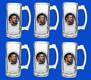 Set Of 6 Barack Obama Commemorative Beer Mug Glasses Steins - In Stock, Ships Right Away