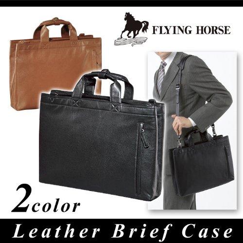 FLYING HORSE フライングホース ビジネスバッグ ブリーフケース ショルダー エンボス 馬革 メンズ gk-2020 (ブラック)