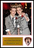 Jedward Signed Photo and Matching Guitar Pick (Autograph & Plectrum Set)
