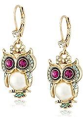 """Betsey Johnson """"Pearl Critters"""" Owl Drop Earrings"""