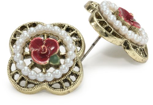 1928 Jewelry Fuschia Flower and Pearls Brass Scalloped Stud Earrings