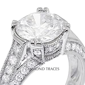 4.18 Carat Round Natural Diamond AGI Certified D-IF Ideal Cut 14k White Gold 4-Prong Setting Vintage Engagement Ring with Milgrain