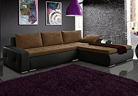 MINI black and brown faux leather and fabric large corner sofa bed couch with storage sleeping area