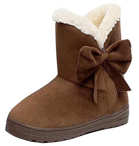 Encounter Femme Botte de Neige Bowtie Boots Avec Fourrure Artificielle Antidérapage Chaussure Chaude Pour Hiver (37-38, Café foncé)