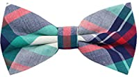 Carahere Mens 100% Cotton Color Plaid Adjustable Pre-Tied Bow Ties
