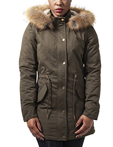 Urban Classics Ladies Sherpa Lined Peached Parka, Giacca Donna, Grün (Olive 176), 40