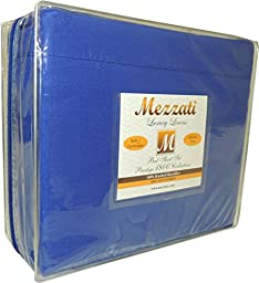 Mezzati Luxury Waterbed Sheets Set - #1 On Amazon! - Best, Softest, Coziest Sheets Ever! - Sale - High Quality 1800 Prestige Collection Brushed Microfiber - Money Back Guarantee!! (King, Royal Blue)
