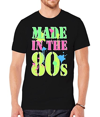 Mens Generation X Made in the 80's Neon T-Shirt - Black - X-Large