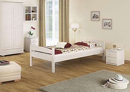 60.32-10 W oR robusto letto in legno di pino massiccio bianco 100x200 cm