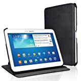 "EasyAcc� Schutzh�lle f�r Samsung Galaxy Tab 3 10.1 h�lle Leder Case Flip Case Book Cover f�r Samsung Galaxy Tab 3 10.1"" P5200/P5210 Ledertasche mit Standfunktion / Auto Sleep - (Schwarz, Kunstleder)"