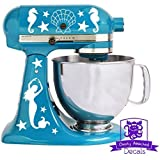 Nautical Mermaid Seahorse Seashells And Starfish Kitchen Stand Mixer Front & Back Decal Set - White