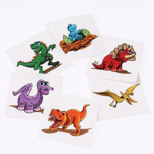 Lot Of 144 Assorted Dinosaur Theme Temporary Tattoos