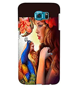 ColourCraft Beautiful Girl and Peacock Design Back Case Cover for SAMSUNG GALAXY S6 EDGE G925