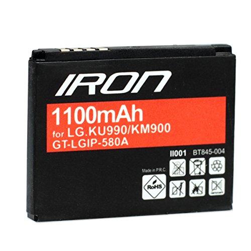 Global Technology® Batterie GT IRON für LG KU990/KU990a/CU915vu/CU920/KC910/KB770/KE998/KU800/KW838/KM900e/KM900 (1100mAh) LGIP-580A Handy Akku starke Leistung Lithium-lonen Zubehör Ersatzteil