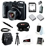 Canon PowerShot G16 12.1 MP CMOS Digital Camera Bundle with 64GB SD Memory Card + Card Reader + Small Case + Two Replacement Battery for Canon NB-10L + Wrist Grip Strap + Accessory Kit