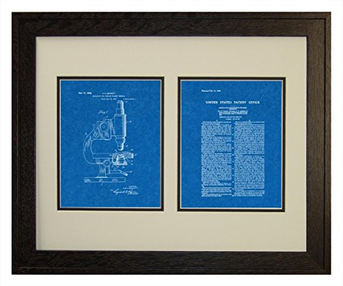 """Microscope And Counting Chamber Patent Art Blueprint Print In A Rustic Oak Wood Frame (16"""" X 20"""")"""