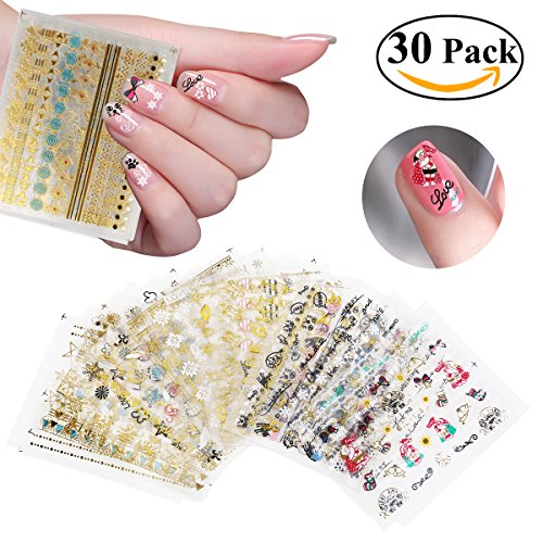 RUIMIO Nail Stickers Decals 3D Christmas Nail Art Designs 30 Sheet (Nail Decals compare prices)