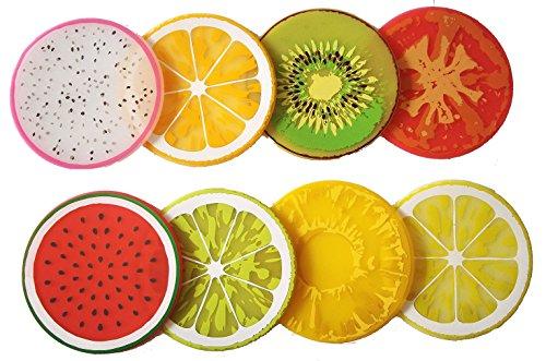 """100 Goods Silicone Fruit Slice Tutte le stagioni sottobicchieri bere 2015 edition, 3.5"""", Set di 8 Kiwi, Arancia, Limone, calce, Drago-frutta, acqua-melone, pomodoro, e ananas"""