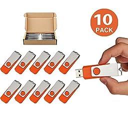 TOPSELL 10 Pack 2GB USB 2.0 Flash Drive Memory Stick Thumb Drives Pen Drive Swivel Design (2G, 10PCS, Orange)