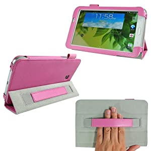 ProCase Samsung Galaxy Tab 3 7.0 Protective Case - Tri-Fold Folio Cover for Samsung Galaxy Tab 3 7.0 Tablet Wifi 3G 4G LTE SM-T210R SM-T2100 P3200 (Pink)