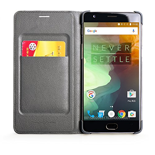 02. Ultra Slim Scratch Resistant QADOU Phone Case Leather Surface Cover with Auto Sleep / Wake Functions for OnePlus 3 (Bluish-Grey)