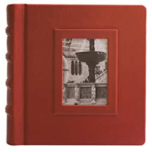 Eccolo Made in Italy Firenze Collection Fontana Red Leather Album Scrapbook With 50 Ivory Pages, 12 x 12-Inch