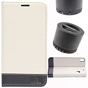 DMG PopularRaiders Premium Magnetic Wallet Flip Cover Stand Case for Lenovo K3 Note (White) + Wireless Bluetooth Speaker with Mic and microSD Support