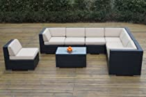 Hot Sale Ohana Collection Pn0804SB Sunbrella Outdoor Patio Wicker Furniture 8-Piece Couch Set with Free Patio Cover, Beige