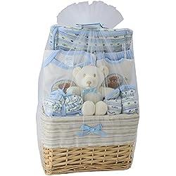 Big Oshi Baby Essentials 10 Piece Layette Basket Gift Set, Blue, 0-6 Months