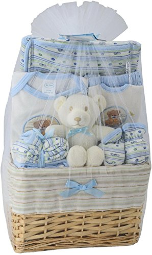 Big Oshi Baby Essentials 10 Piece Layette Basket Gift Set, Blue, 0-6 Months