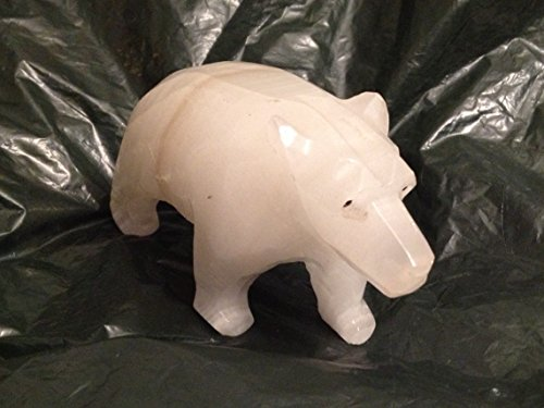 Carved Natural Onyx Stone Polar Bear Figurine - 4.5 unknown