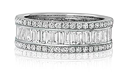 925 Sterling Silver 4.5Ct Round & Baguette Cut Engagement Ring / Eternity Ring