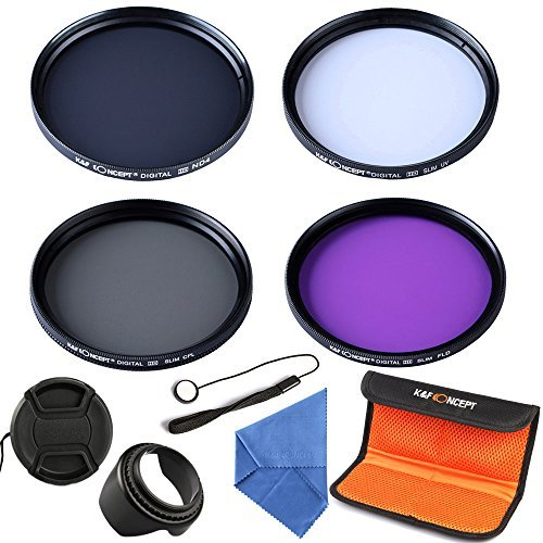 K&F Concept 52 mm Filtres UV CPL FLD ND4 pour appareil photo réflex + Kit d'Accessoire pour Objectif