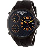 TORGOEN Swiss T08303 Men's 45.5mm Aviation Watch with Triple Time Zone, Carbon Fibre Dial and Black PU Strap