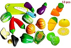 ToyTree (TM) Realistic Sliceable Vegetables Cutting Play Toy (Set of 13 pcs) Newer model and Good quality with more Vegetables and Velcro